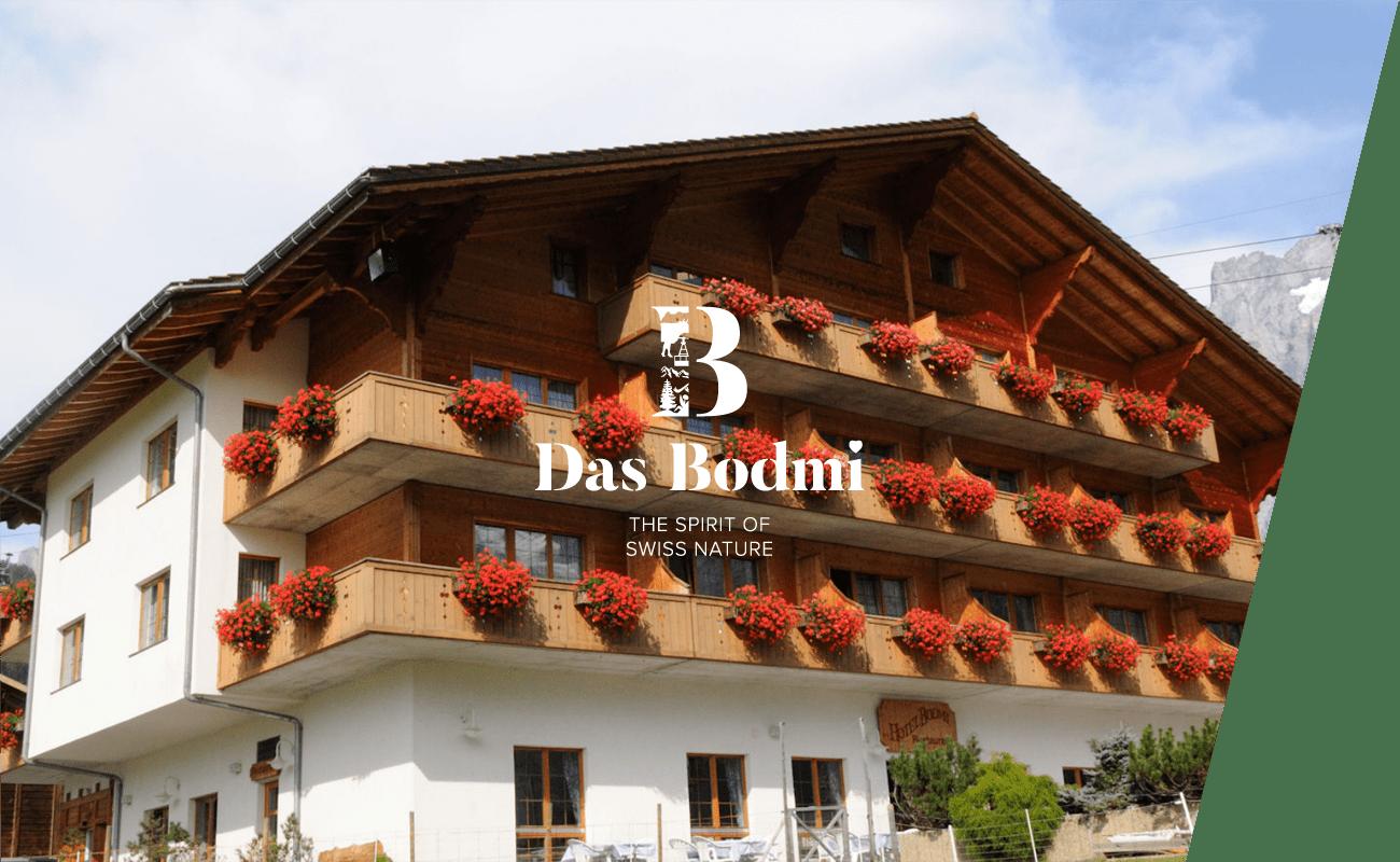 Eine Außenansicht des Erholungshotel Bodmi in der Schweiz
