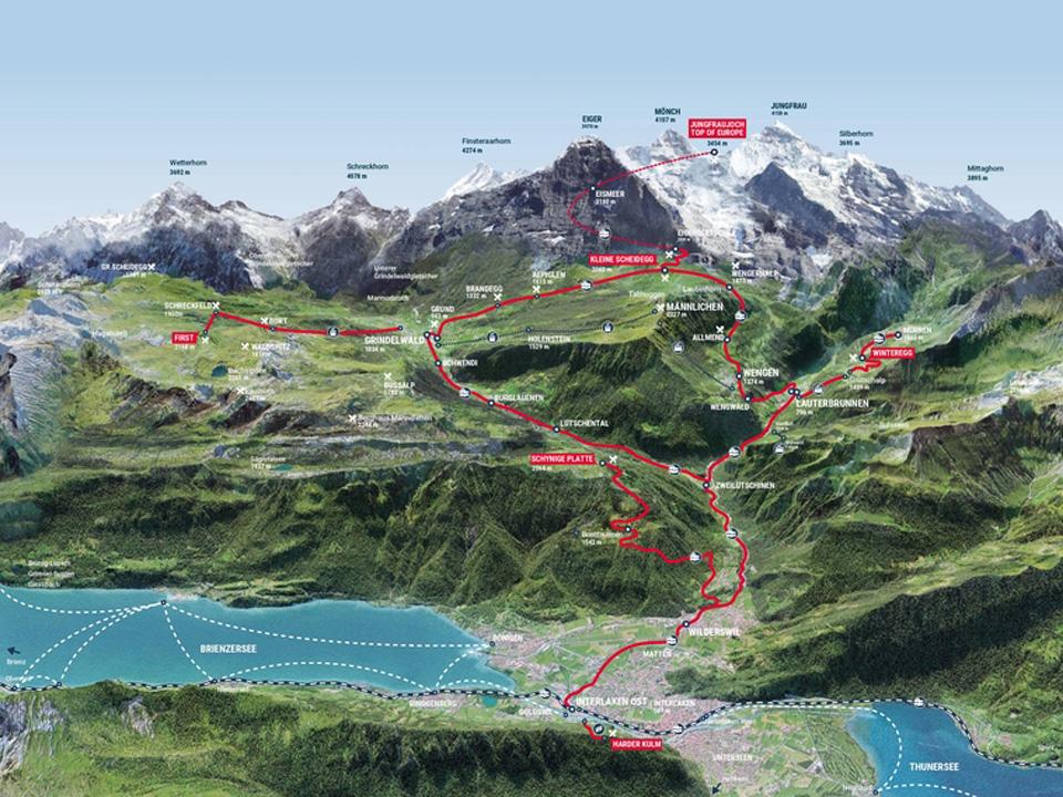 Eine Karte der Jungfraubahn im Sommer
