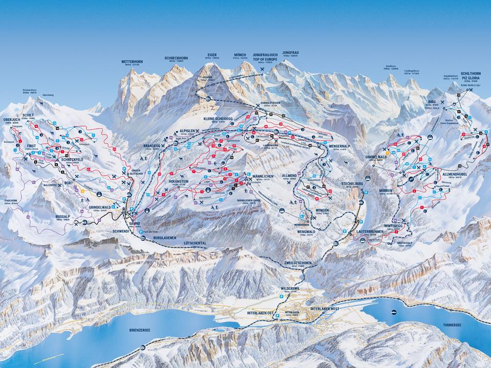 Eine Karte der Jungfraubahn und der Skigebiete und Routen in Grindelwald im Winter