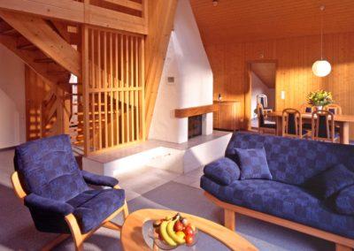 Ein gemütlich eingerichtetes Apartment mit blauen Polstermöbeln und Holztäfelung im Bodmi Romantikhotel Grindelwald