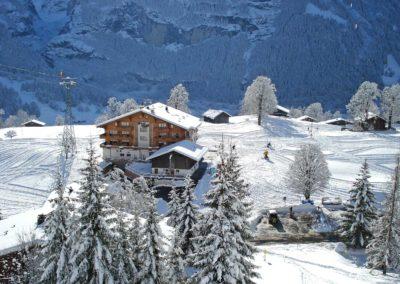 Das Bodmi Skihotel steht inmitten einer Skipiste, umgeben von schneebedeckten Bäumen und Bergen.