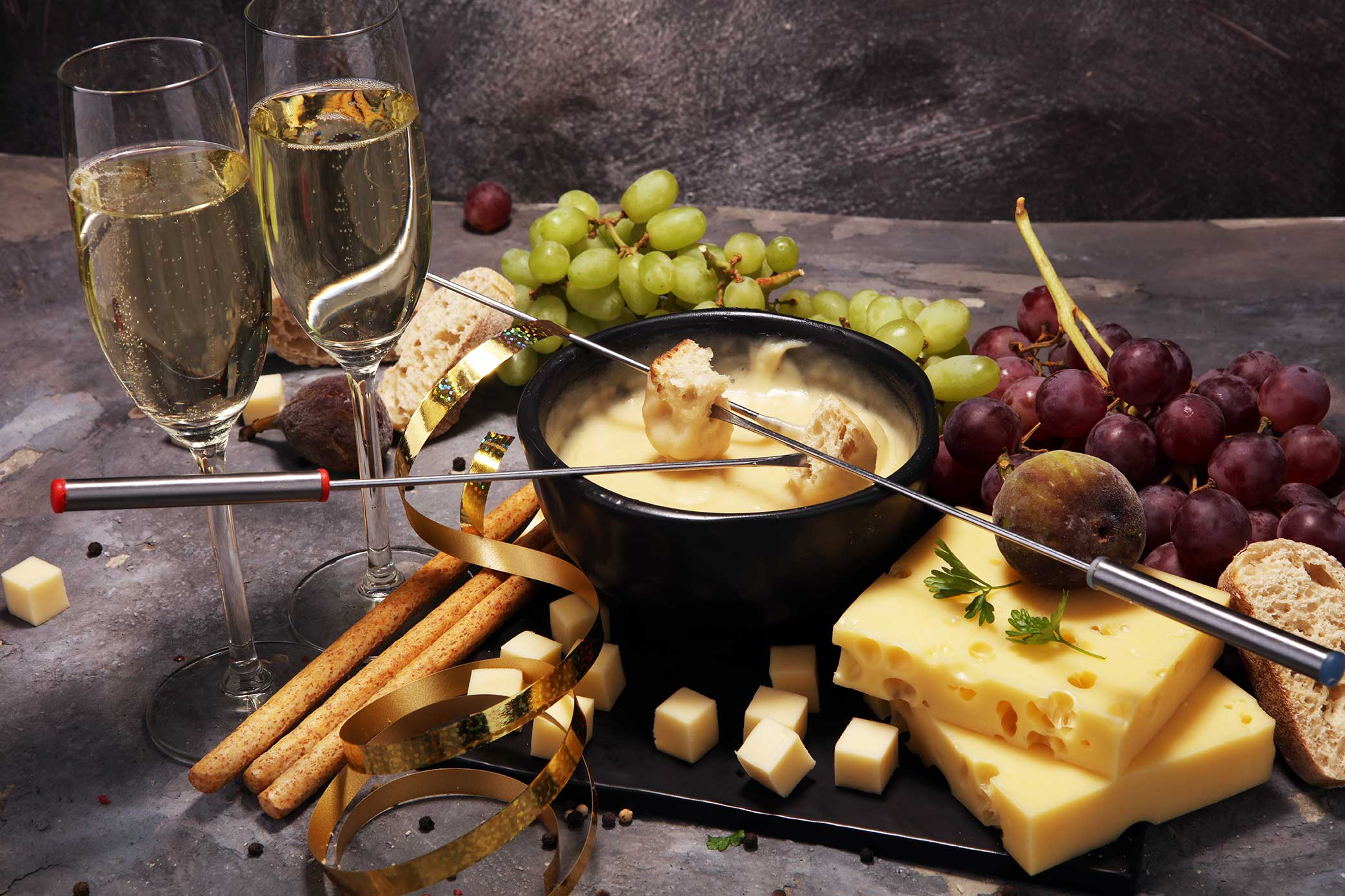 Traditional cheese fondue, part of the swiss cuisine at the Hotel Bodmi